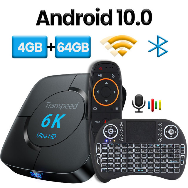 Transpeed Android 10.0 Bluetooth TV Box Google Assistant vocal 6K 3D Wifi 2.4G & 5.8G 4GB RAM 64G Play Store très rapide BoxTop Box