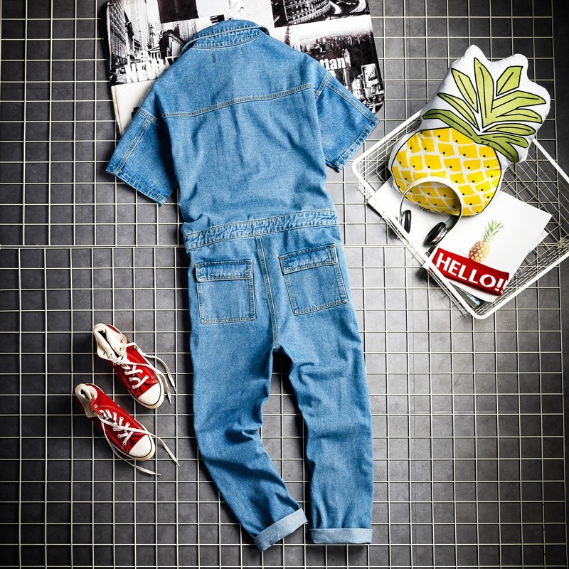 Euro Hip Hop Fashion Mens Denim Jumpsuit Vintage One Piece Cargo Pants Short Sleeve Jeans Bib Overalls Casual Cowboy Jumpsuits