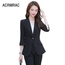 women suits summer Half sleeve blazers pants Office Lady Formal Work clothes wom