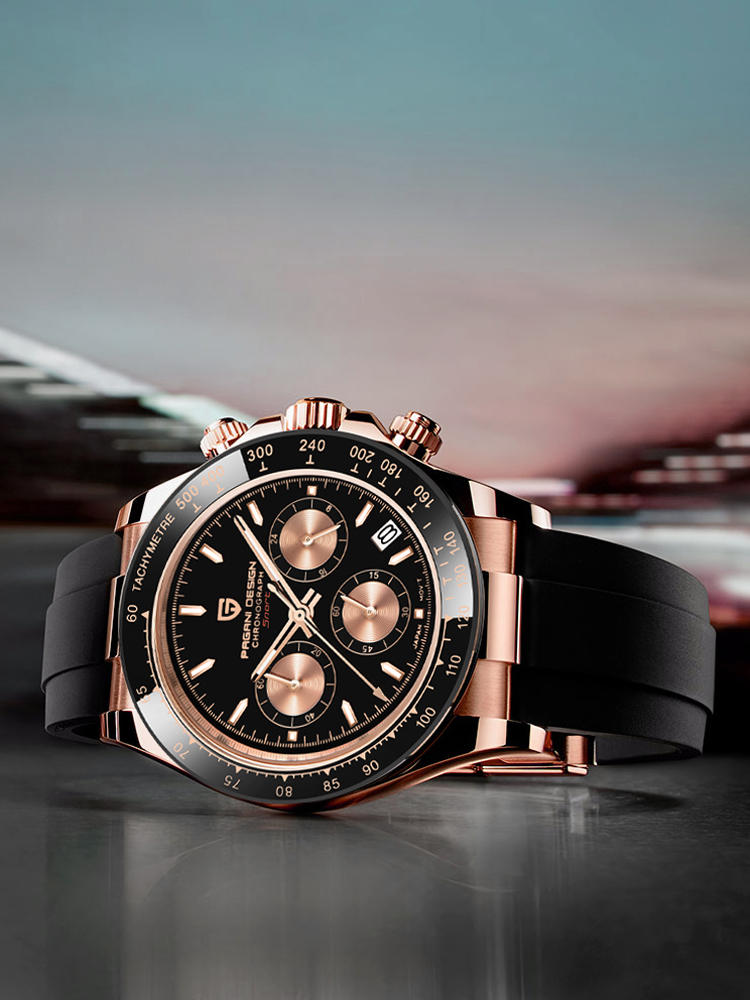 Luxury Gold Quartz-Watches Chronograph Vk63-Clock Date Pagani-Design Japan Waterproof