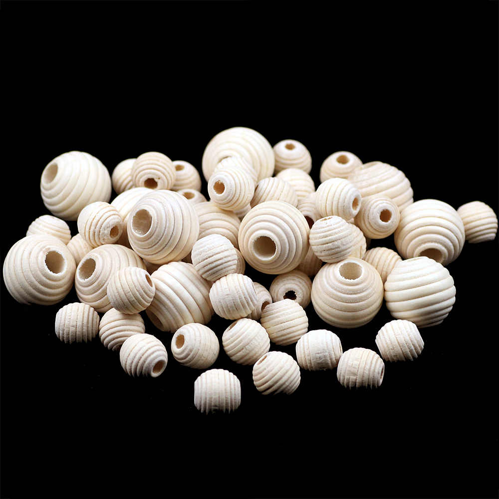 YHBZRET 30PCS Wooden Round Beads Loose Spacer Eco-Friendly Natural-Color Wood Beads for Jewelry Making bracelet DIY Accessories