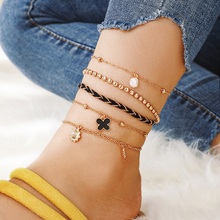 HuaTang 5pcs Boho Pearl Butterfly Pendant Anklet Bracelet Multilayer Braided Rope Foot Chains for Women Girls Beach Jewelry 8538 chic multilayer small bells anklet for women