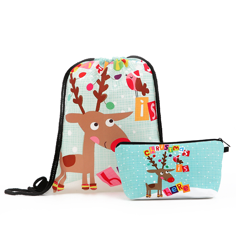 Suit Drawstring Backpack Drawstring Bags Printing Snowman Letter Men Casual Bags Women's Shoulder Bag Polyester Christmas  New