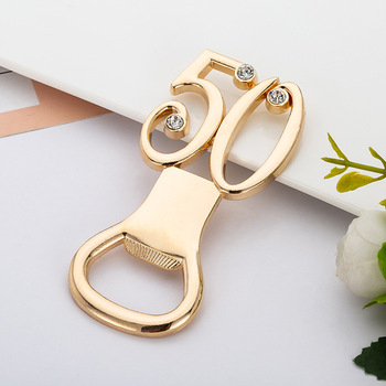 20 Pieces/lot Golden Color Bottle Opener Wedding Gift Gold Bottle Opener Favors for 50th Anniversary 50th Birthday Celebrations