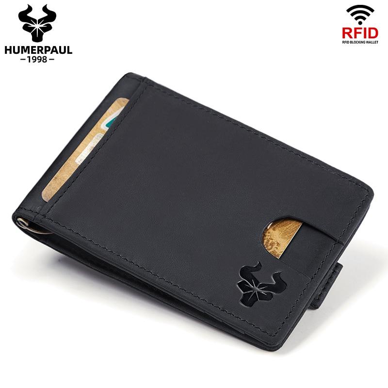 Marque célèbre en cuir pour hommes, Clips d'argent, mode RFID, portefeuille à Mini cartes, gravure gratuite, à deux volets