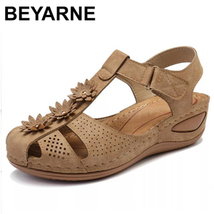 Image 1 - BEYARNEPlus size fashion flower summer sandals for women wedge beach shoes Woman Comfortable high heel shoes lightweight platfor