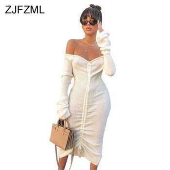 Front Drawstring Sexy Bandage Dresses Women White Slash Neck Long Sleeve Club Party Dress Autumn Winter Off Shoulder Maxi Dress