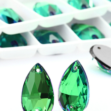 11*18MM Sphinx Flatback Strass Crystal Drop Two Holes Sew on Rhinestones for Dresses Jewelry Decoration Bags Garment Crafts