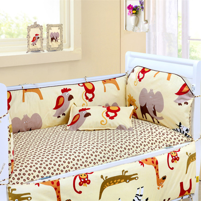 6PCS Baby Bedding Set 100% Cotton  Unpick And Wash Crib Bumper Baby Room Decor Kids Bedding (4bumpers+sheet+pillow Cover)