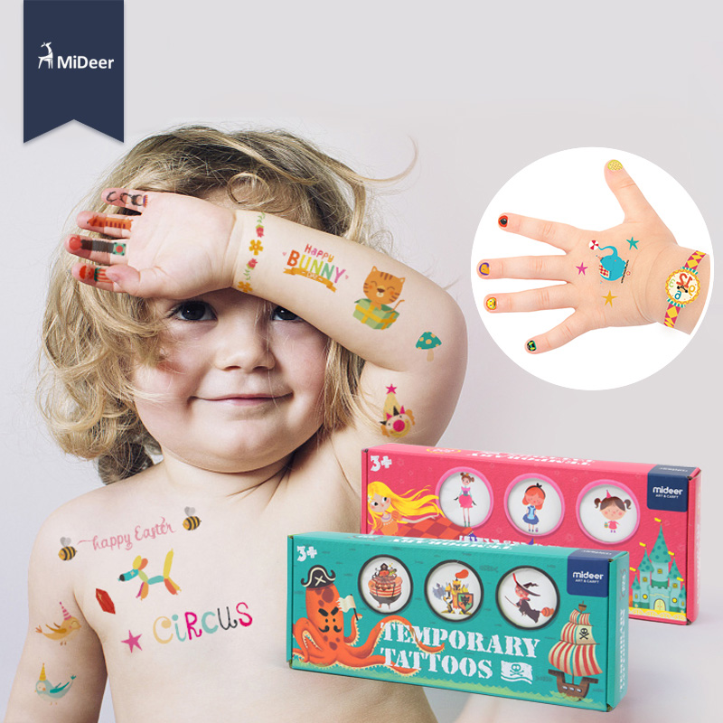 Kids Toys Waterproof Temporary Tattoo Nail Stickers kit Art Craft Set Girls Toys For Children Fashion MiDeer Birthday Party Game 1