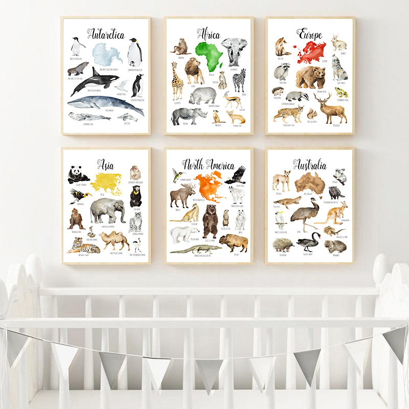 Nursery Education Canvas Painting Animal Chart Map Child Poster Nordic Art Print Wall Picture Baby Kids Study Room Decoration