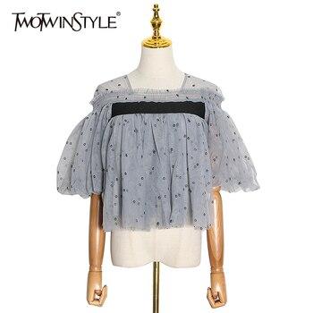 TWOTWINSTYLE, almazuela elegante, camisa de malla para mujer, cuello cuadrado, manga de farol, estampado, Color impactante, blusa holgada de gran tamaño, novedad para mujer