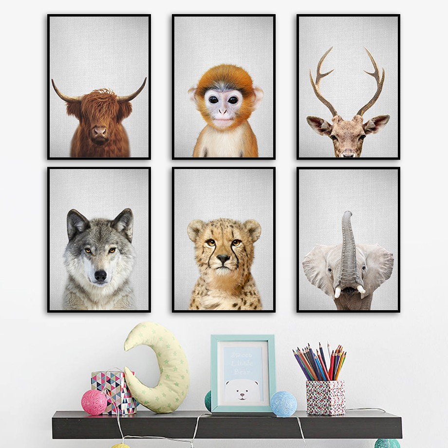 Elephant Leopard Wolf Monkey Nordic Canvas Posters And Prints Wall Art Canvas Painting Animals Wall Pictures For Kids Room Decor in Painting Calligraphy from Home Garden