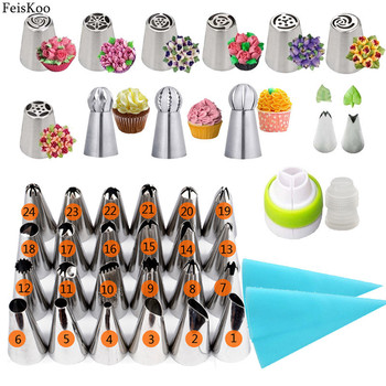 40pc/Set Russian Tulip Pastry Nozzles For Cream Stainless Steel Icing Piping Tips Bag Confectionery Cake Decorating Tools