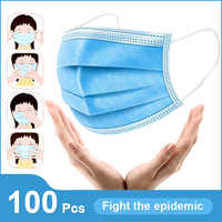 Disposable Protective Mask 3 Layer Non woven Ply Filter Mouth Face Mask Anti-Dust Anti-Fog Meltblown Earloop Mouth Mask
