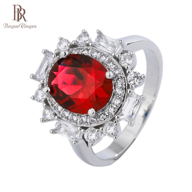Bague Ringen Gorgeous design Silver 925 Jewelry Gemstones Oval Ruby Ring for Women Size6-9 Delicate Female Party Fine Jewelry