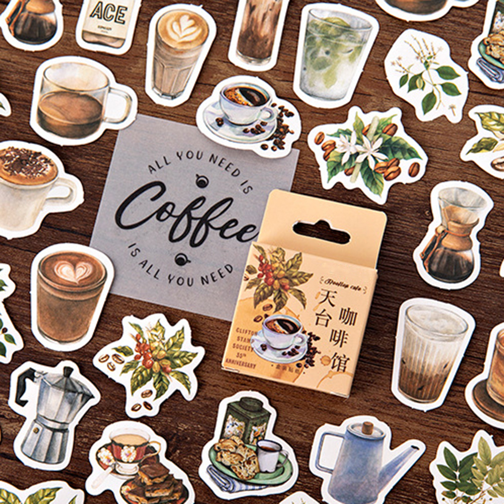 46PCS/PACK Coffee House Theme Stationery Stickers Decorative Scrapbooking DIY Diary Album Stick Label School Office Suplies
