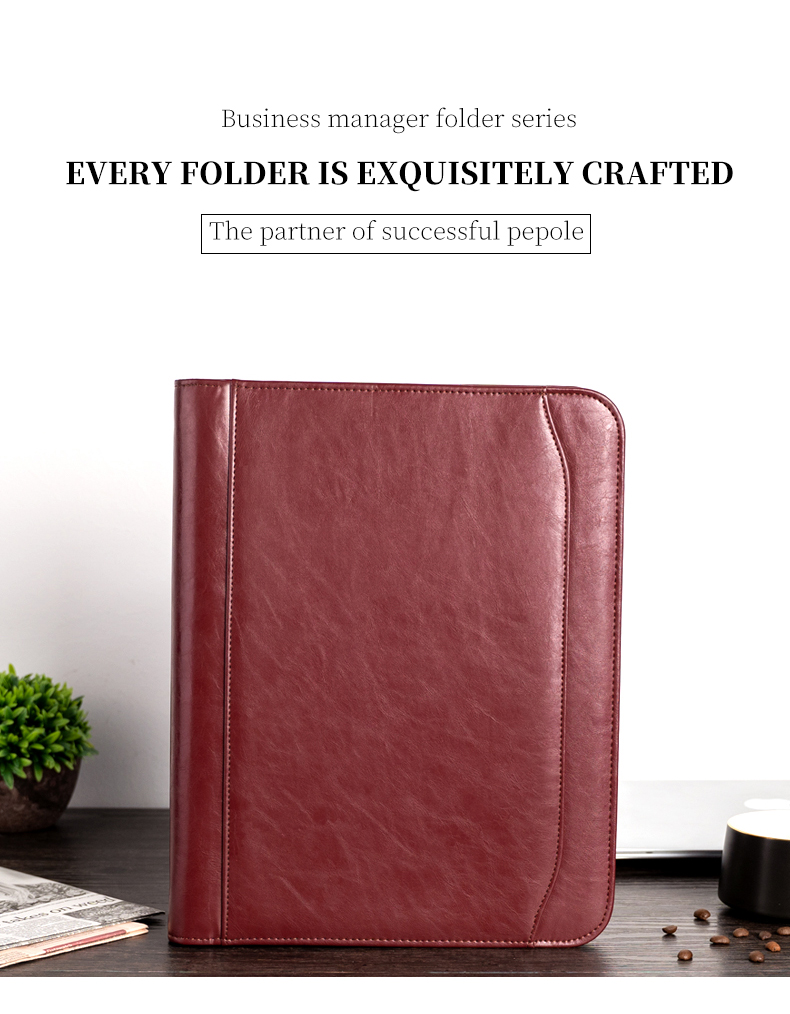 A4 Document File Folder Binder Padfolio Briefcase Notebook With Calculator Zipper PU Leather Office File Folder Manager