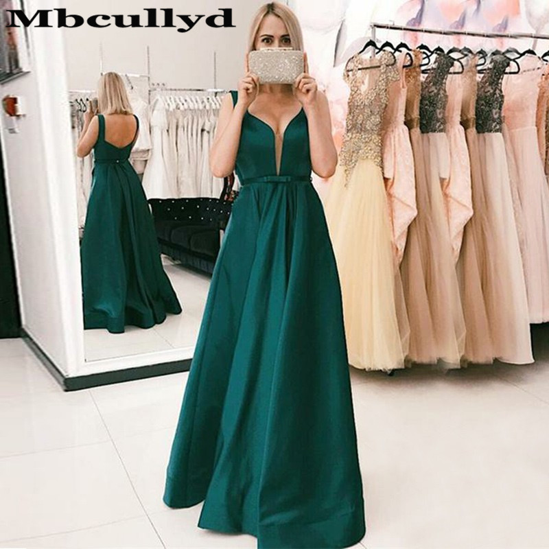 Mbcullyd Dark Green Satin   Prom     Dresses   Long 2019 Elegant V-neck Evening   Dress   For Women Formal Floor Length robe de soiree