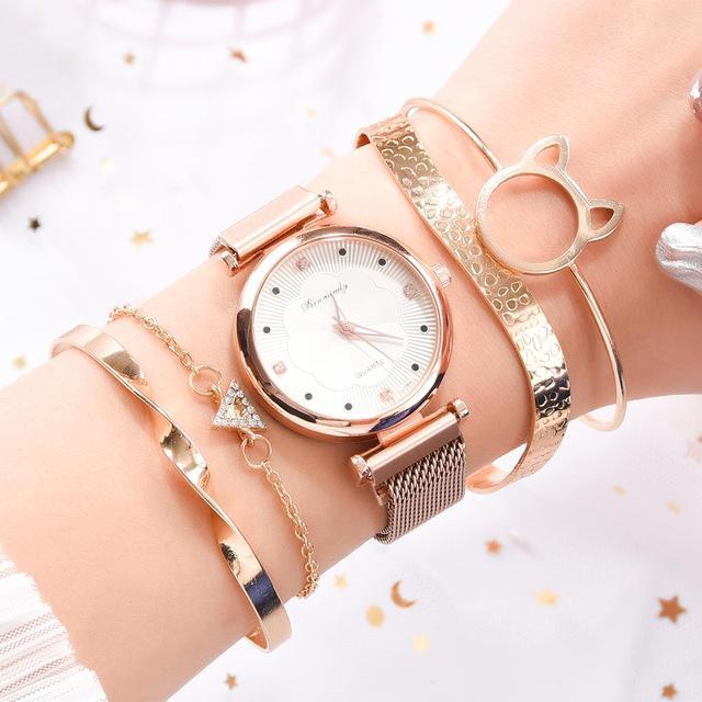 Conjunto de 5 uds. De relojes de lujo con hebilla magnética para Mujer, pulsera de cuarzo con diamantes de imitación y flores 4