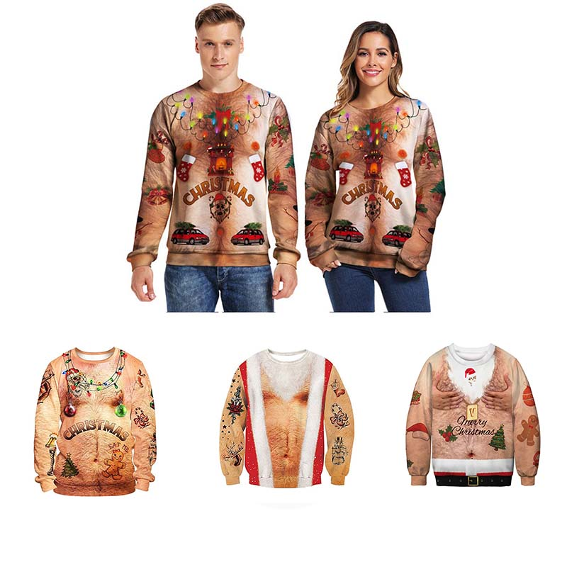 Funny Men's Women's Ugly Christmas Sweater Vacation Santa Christmas Sweater Chest Hair Jumper Autumn Sweaters Foute Kersttrui