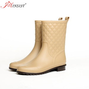Image 2 - Women boots brand design Boots Rain Boot Shoes Woman Solid Rubber Waterproof Flats Fashion Shoes