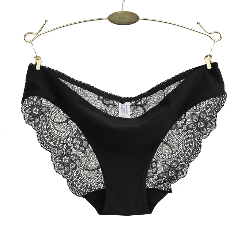 Sexy Lace Woman   Panties   Plus Size   Panty   Transparent Cotton crotch Briefs Ladies Low-Rise Underwear Intimates New Hot Sale