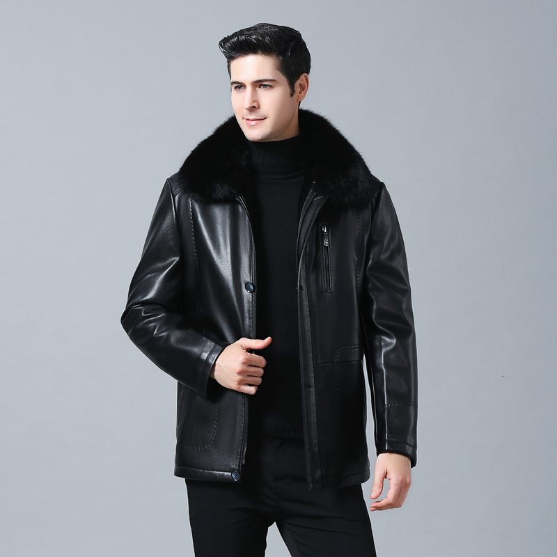 New Men Genuine Jacket Winter Faux Fur Sheepskin Coat For Men's Jacket Turn-down Collar Natural Leather Jacket
