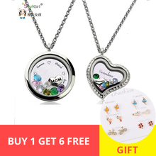 Personalized 925 Silver Pendant Necklace Custom Crystal Engraved Letter Mother Jewelry Chain Floating Charm Locket Family Gift chic engraved floral locket necklace