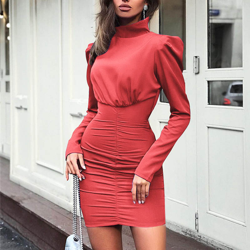 Image 5 - Fanbety New Autumn Puff shoulder long sleeve dress women Turtleneck solid belt mini dress Lady back zipper bodycon party dresses-in Dresses from Women's Clothing