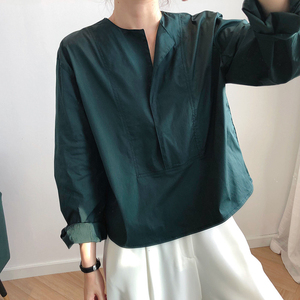 Image 5 - CHICEVER Korean Casual Shirt For Women Square Collar Lantern Sleeve Large Size Loose Blouse Female 2020 Autumn Fashion New