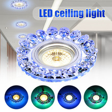 Потолочный светильник, светодиодный хрустальный встраиваемый светильник, теплый белый, 2 режима, мини-светильник, 86-265 в, современный светил...
