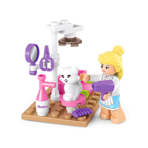SLUBAN 0515 Girl Friends Pet Grooming Cat Store Building Blocks Brick Compatible lepine Playmobil Toys For Children