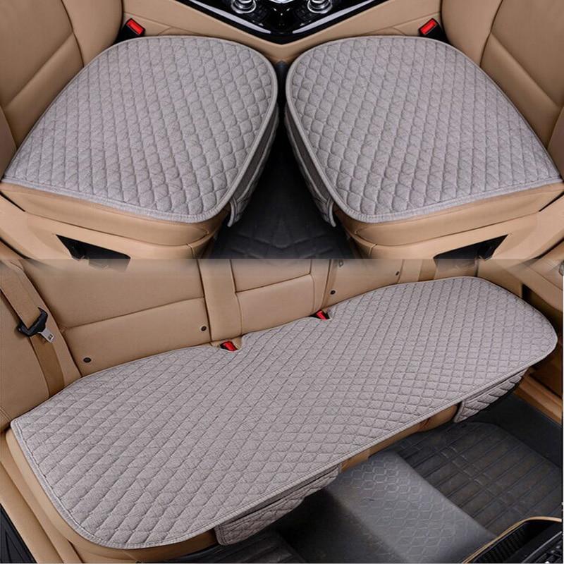 Housse de siège de voiture en lin quatre saisons, tapis de protection respirant en tissu de lin avant et arrière, accessoires automobiles, taille universelle