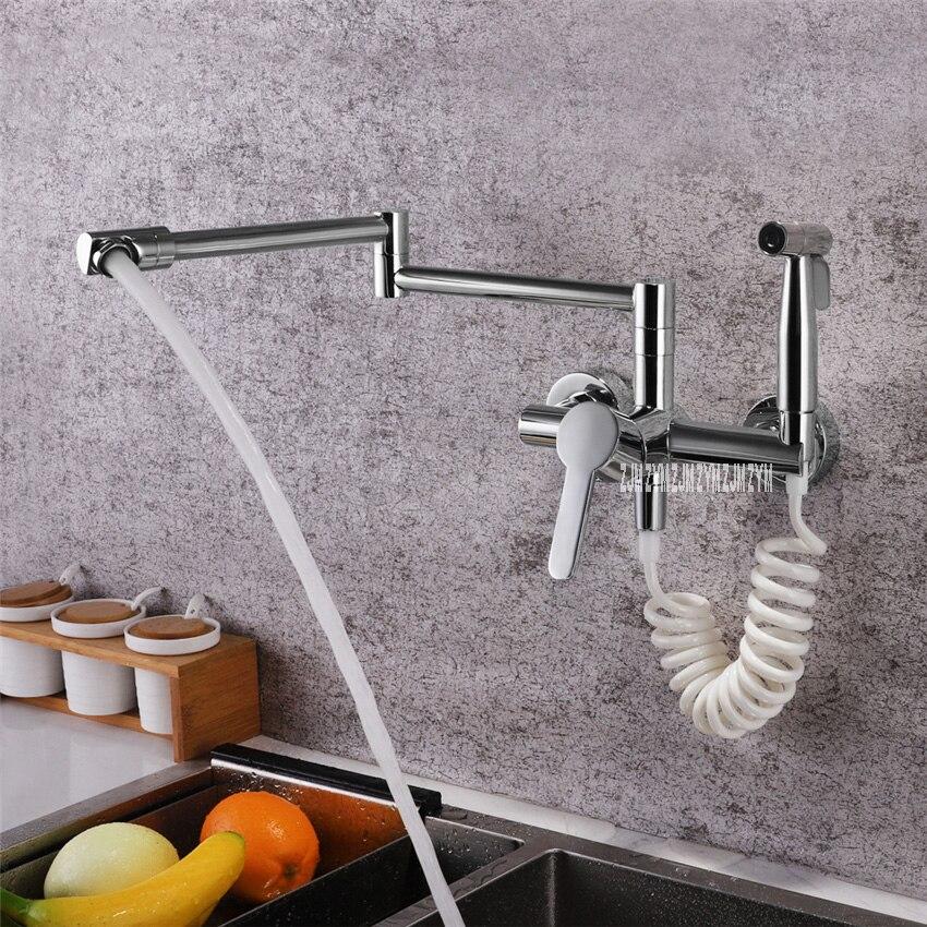 Grifo plegable rotativo de cobre de LE 6954 multifuncional de pared de agua caliente y fría En Grifo montado en la pared de la cocina con PISTOLA DE PULVERIZACIÓN - 4