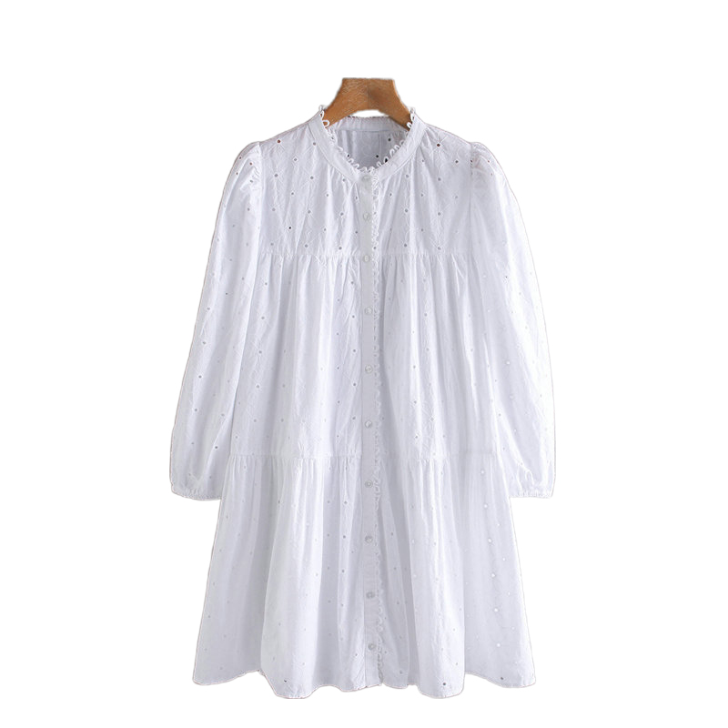 Tangada Fashion Women Solid White Embroidery Hole Dress Long Sleeve Ladies Retro Loose Pleated Mini Dress Vestidos 2W04