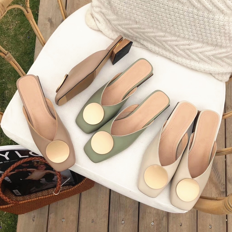 Women Slippers Mules Flat Casual Shoes British Metal Buckle Slides Wooden Heel Summer Half Slippers Elegant Ladies Office Shoes