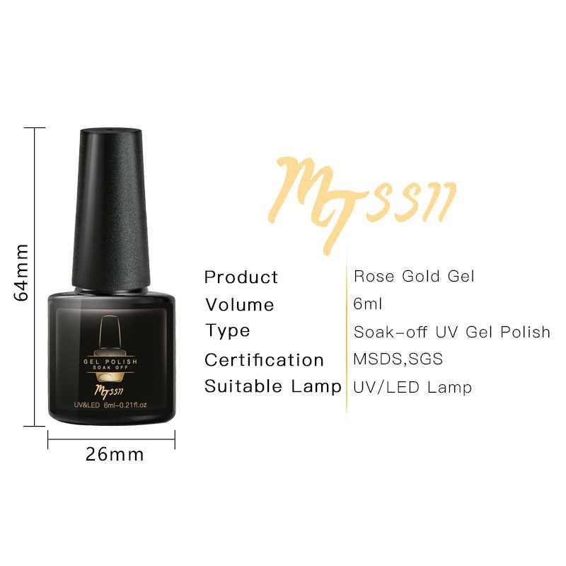 Mtssii 6ml esmalte de uñas de Gel UV oro rosa brillo lentejuelas empapa de Gel UV barniz Color Gel esmalte de uñas DIY esmalte para decoración de uñas