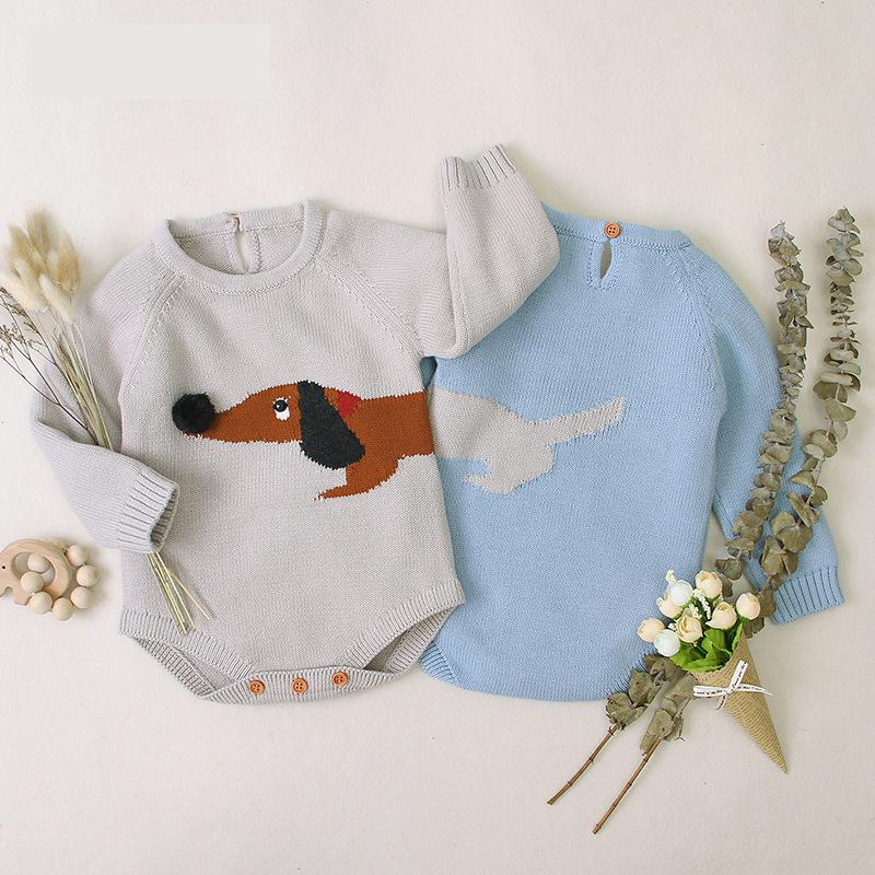Baby Bodysuit Clothes Cute Knitted 3D Dachshund Newborn Infant Jumpsuit Long Sleeve Spring Toddler Outerwear Kids Children Wear