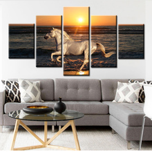 5 Panels Running Steed Sea Sunset Canvas Paintings HD Prints Clouds Animal Horses Poster Wall Art for Living Room Decor Pictures sunset horses pattern unframed decorative canvas paintings