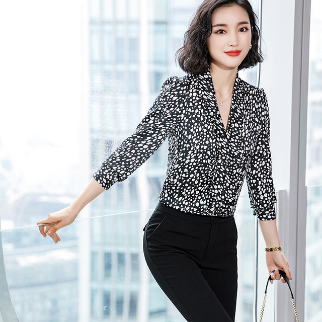 Lenshin Leopard Pattern Loose Shirt Breathable Soft V-neck Draped Blouse Women Female Wear Casual Style Office Lady Tops 2
