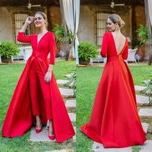 Красные комбинезоны Выпускные платья со съемной юбкой V шеи вечерние платья с открытой спиной вечерний комбинезон для женщин индивидуальный заказ
