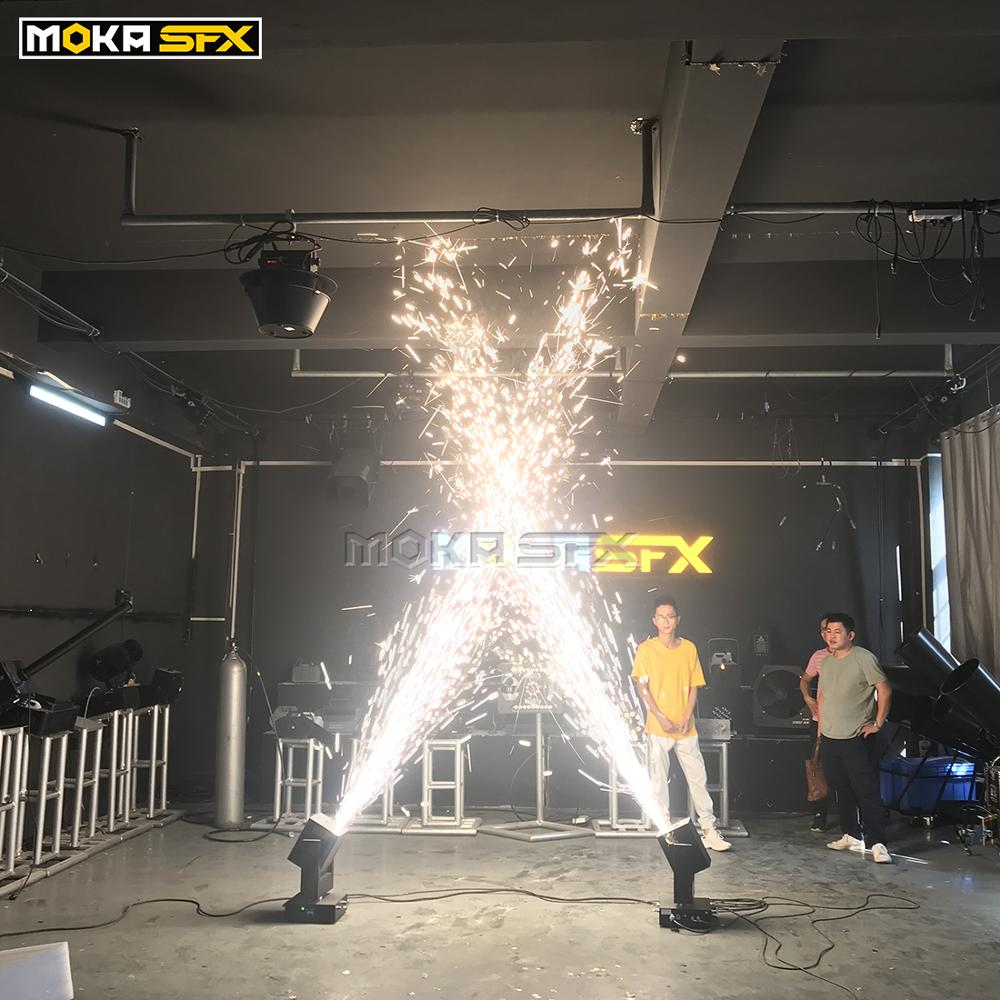 Moving Head Cold Spark Machine Spray 5 Meters Salute DMX Wedding Machine For Party Decoration