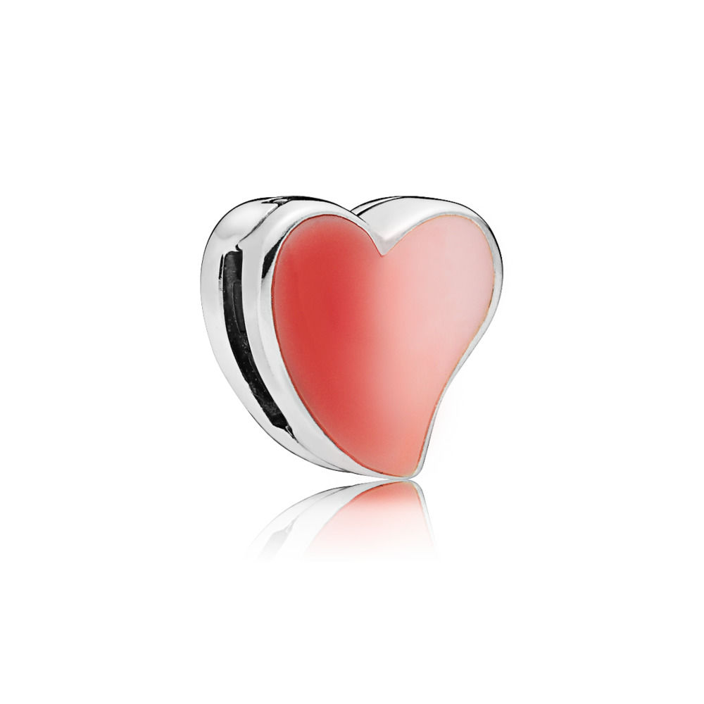 925 Sterling Silver P Reflexions Floating Heart Clip Charm