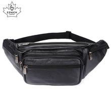 ZZNICK 2020 Genuine Leather Waist Packs Men Waist Bags Fanny Pack Belt Bag Phone Bags Travel Waist Pack Male Small Waist Bag