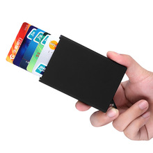 2019 Automatic Pop Up Credit Card Holder Cover Business Metal PU Leather Card Wallet Travel Cash Clip Holder Cardholder high quality credit card holder automatic card sets business aluminum wallet solid color card sets card wallet cash clip holder