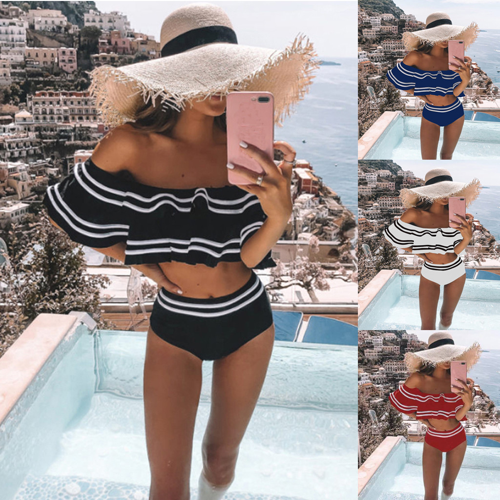 Hot Sexy Women High Waist Underwear 2019 High Quality Female Retro Bathing Suit Off Shoulder Female Intimates Wire Free Lengerie