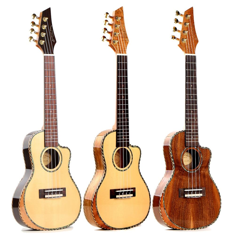 24 pouces Concert ukulélé corps mince biseauté placage épicéa panneau ukulélé 4 cordes mini guitare Hawaii guitare Instrument de musique UK2338