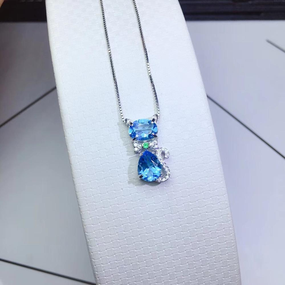 The latest design, natural Topaz necklace, Rich cat, 925 silver, hot selling, super cheap