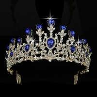 Coroa hadiyana na moda magnífico strass tiara casamento noiva acessórios para o cabelo luxo jóias de cabelo bcy8903 coroa de noiva